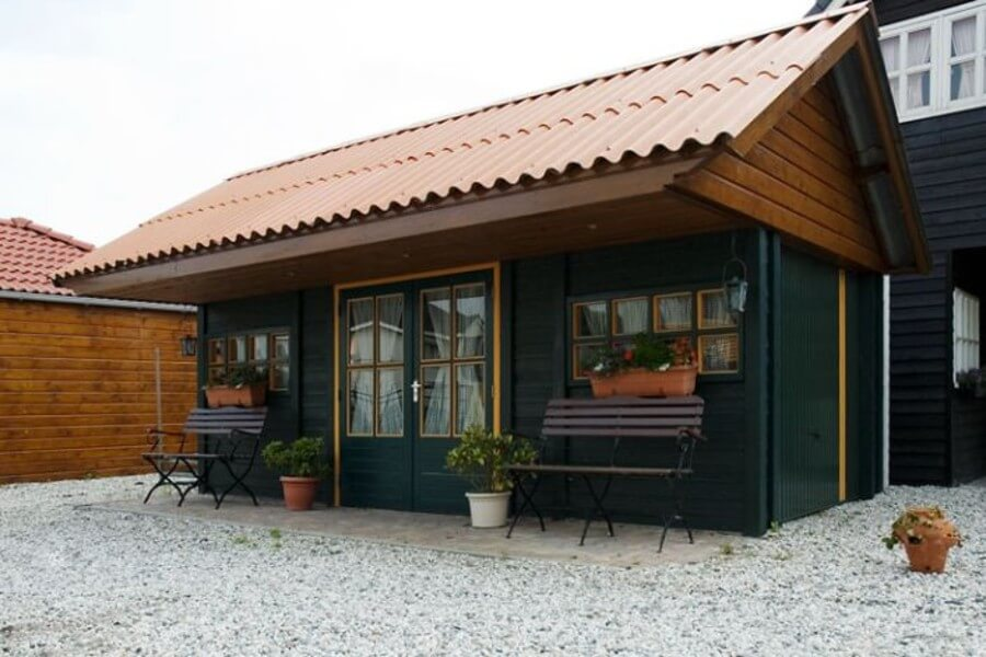 Tuinhuis volgens het Prefab beton bouwsysteem